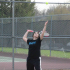 #2 Jena Brosam lost both her singles and doubles matches. This is her second year in tennis.