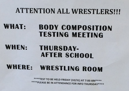 Attention Wrestlers: Body Composition Test Information