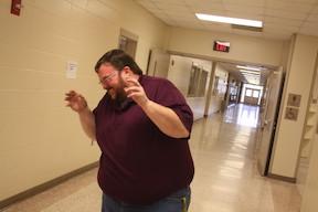 Ag teacher Eric Miller shows how he feels when he sees a snake.