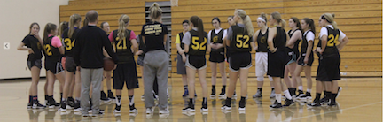 The Freshmen basketball team gets a talk at practice before the upcoming season.