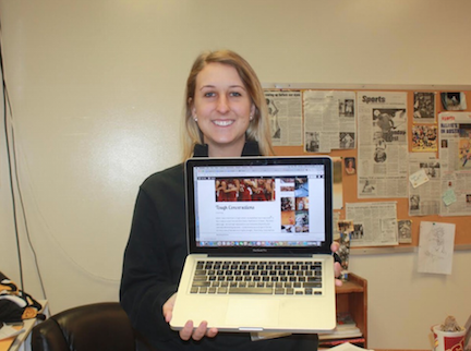 English teacher Emma Walker displays her blog  that went viral this past month.