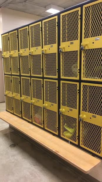 ALL LOCKED UP- Lockers in the AHS girls' athletic locker room are safely locked up. By locking lockers at all times, theft rate will decrease for AHS students. Visit weights instructor Ryan Henderson, or gym teacher Tucker Weber if a lock is needed for your valuables. Please keep lockers locked, AHS!