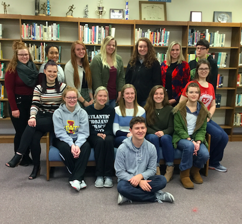 Class of 2017 - Straight-A's First Semester Front row: Sam Coder; Second row: Kylee Champlin, Bailey Schildberg, Megan Behrends, Emily Hohenberger, Kaylee Pappal; Third row: Hannah Wright, Nadia Somers; Back row: Sarah Fixmer, Zaria Agboglo, Victoria Krogh, Morgan Anstey, McKenna Den Beste, Mary Hayes and Bryn Blanchette