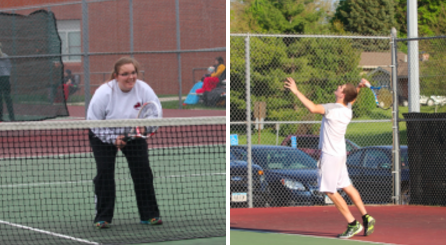 Last year's number six varsity player Alexis Boes, and number one Grant Podhajsky.