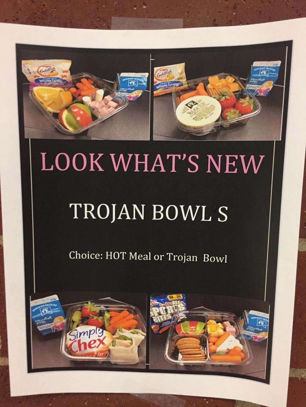 Trojan Bowls are made with different ingredients every day.