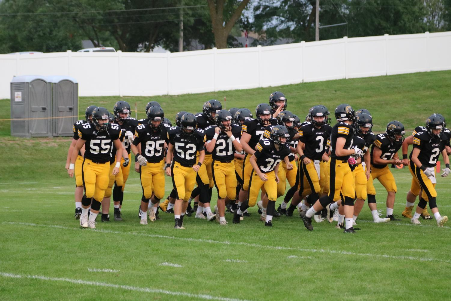 Team gets fired up before their 42-14 commanding win over the Shenandoah Mustangs in the second game of season.