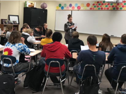 VOLUNTEER YOUR TIME- Guidance Counselor Michelle Huber talks to Mr. Bales' 6th period  freshman class about the Silver Cord Program. The program is a good way to help your community while also having the possibility to earn a scholarship.