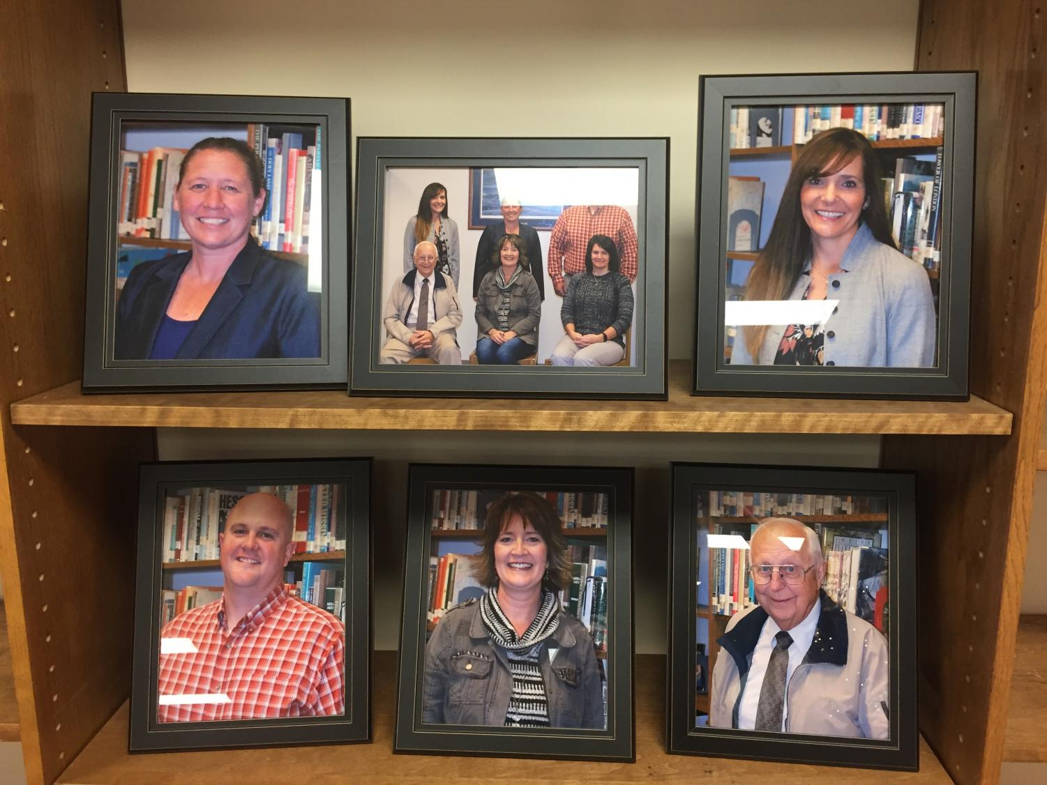 SCHOOL BOARD- Members of the school board are pictured. These pictures are found in the library.
