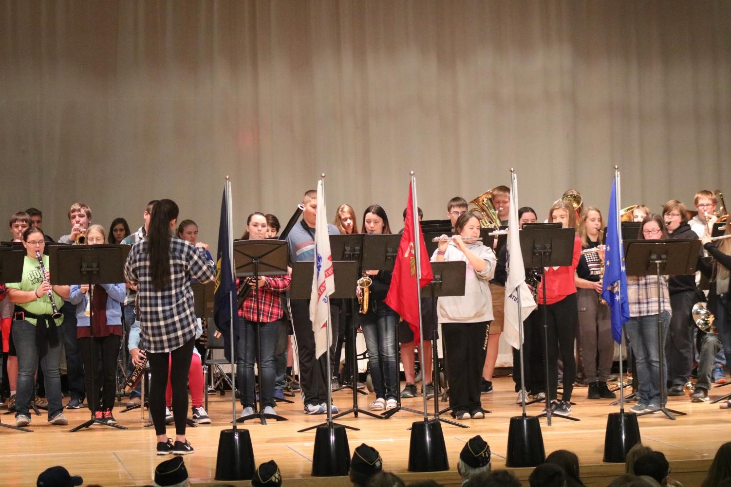 WORK TOGETHER- Students from the Atlantic High School band perform at the Veterans Day assembly in November.