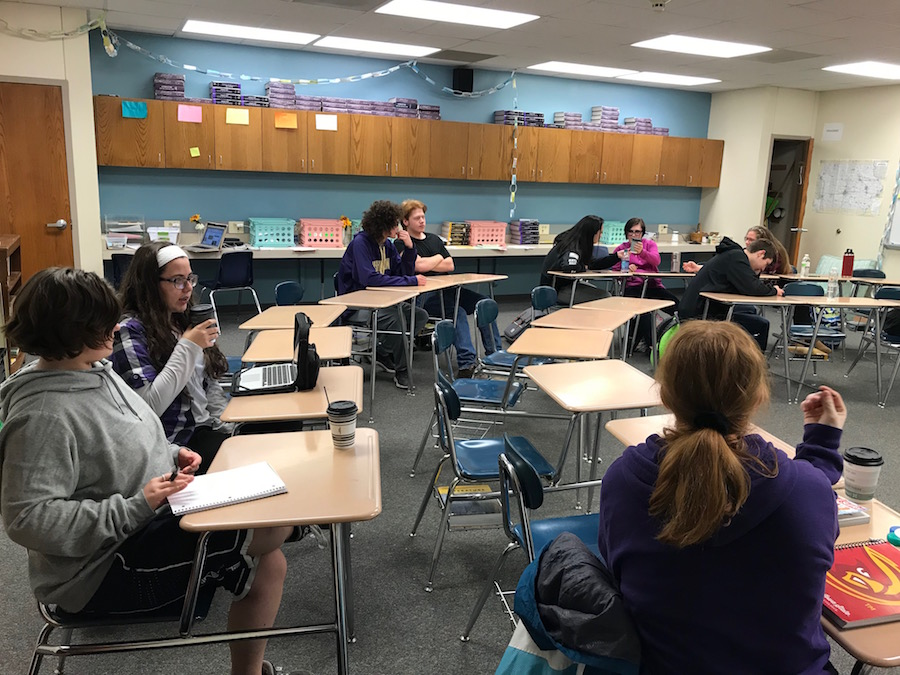 THE WRITE PLACE - Students gather for the first meeting of AHS Writers' Club on Jan. 30. The club meets every Tuesday in room #406.