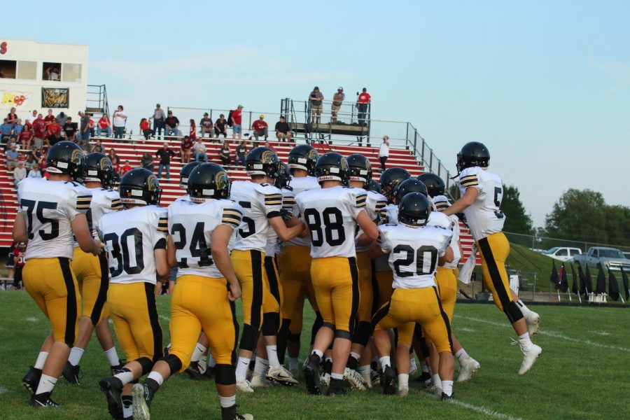 SWEET SWEET VICTORY- The AHS football team celebrates during the first game of the 2017 season against the Clarinda Cardinals. The 2017 football season was Atlantic's first winning season in years.