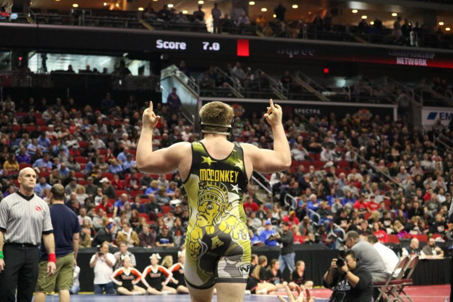 TIME TO SHINE- Senior John McConkey raises his arms after winning a match at the State tournament.
