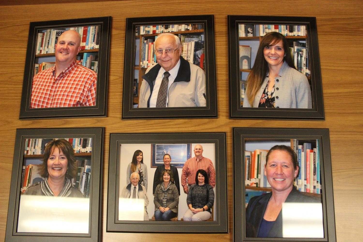 Photos of the Atlantic School Board members are displayed in the Media Center.