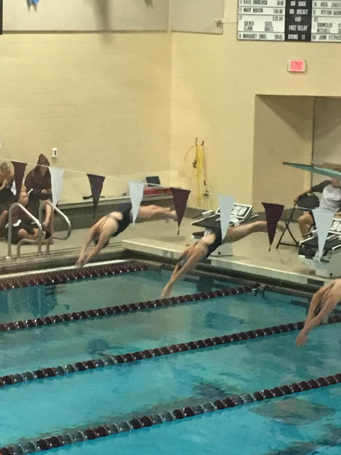 Freshman Ava Bruckner dives into her first high school swim meet. Bruckner is one of three freshmen on the 2018 team.