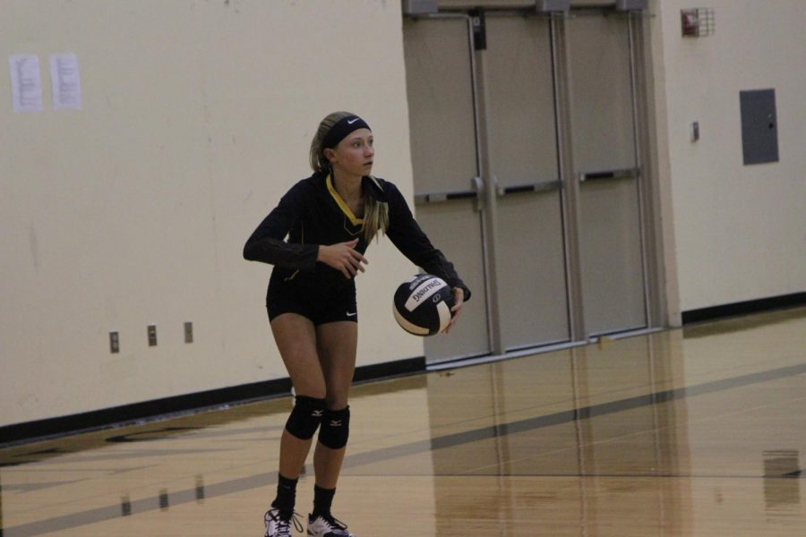 Sophomore Haley Rasmussen prepares to serve up some success on the volleyball court.