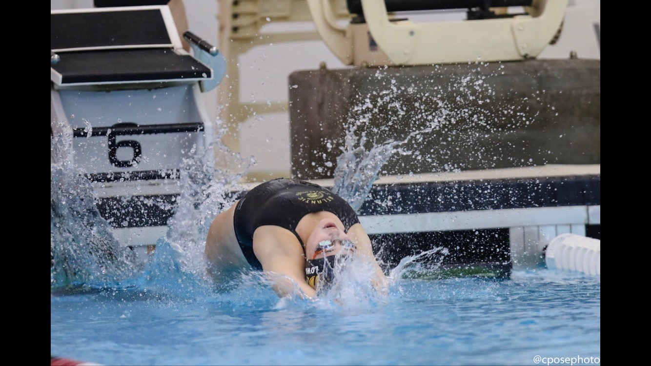 Junior Anna Lowary begins the next lap of her event.