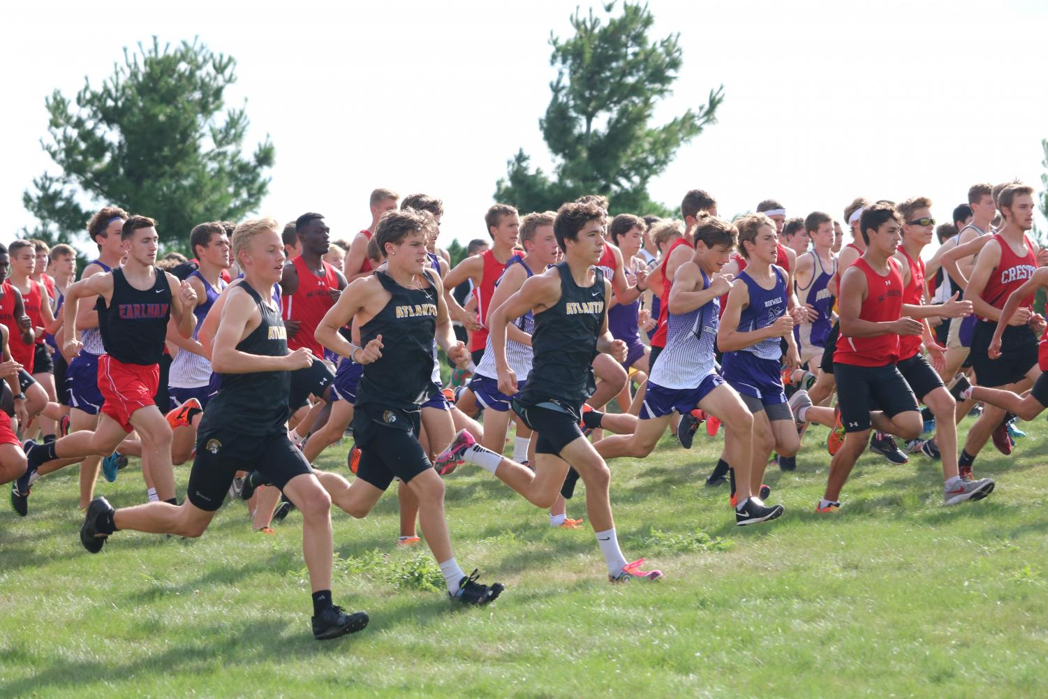 ON YOUR MARK - Runners take off at the start line at DCG. Only varsity members ran for the Trojans at this meet.