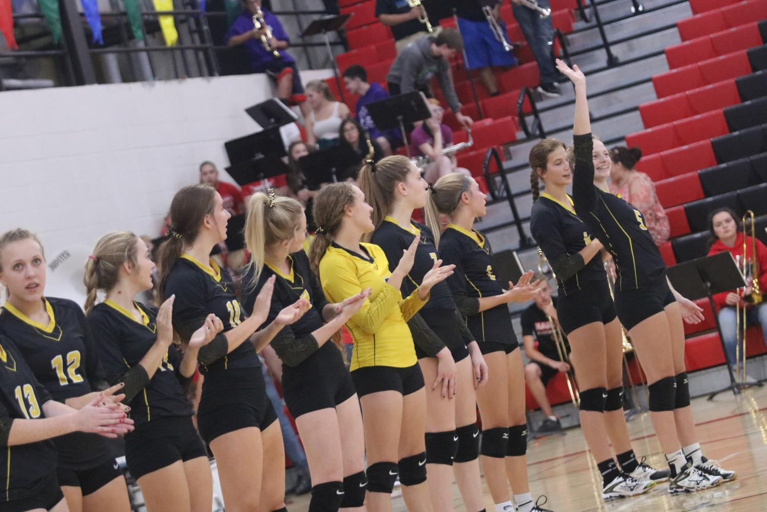 Senior Sadie Welter stands tall as her name is read aloud before the Varsity match on Thursday.