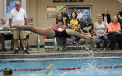 Girls' Swimming Dives in at Regionals