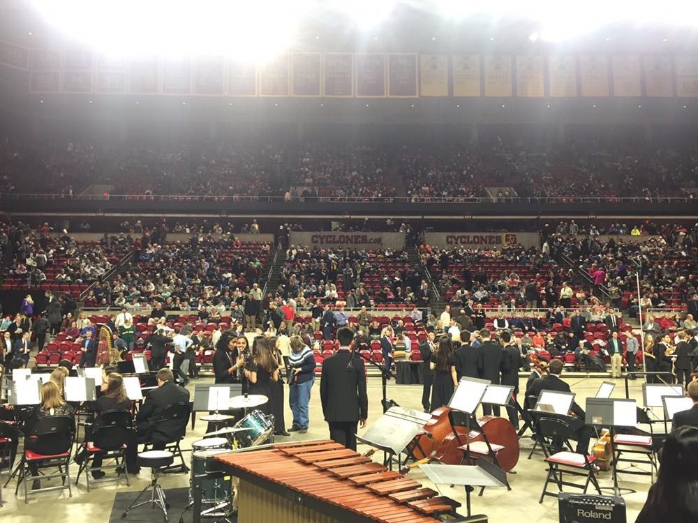HANGING OUT - Participants congregate in Hilton Coliseum before the All-State Festival.