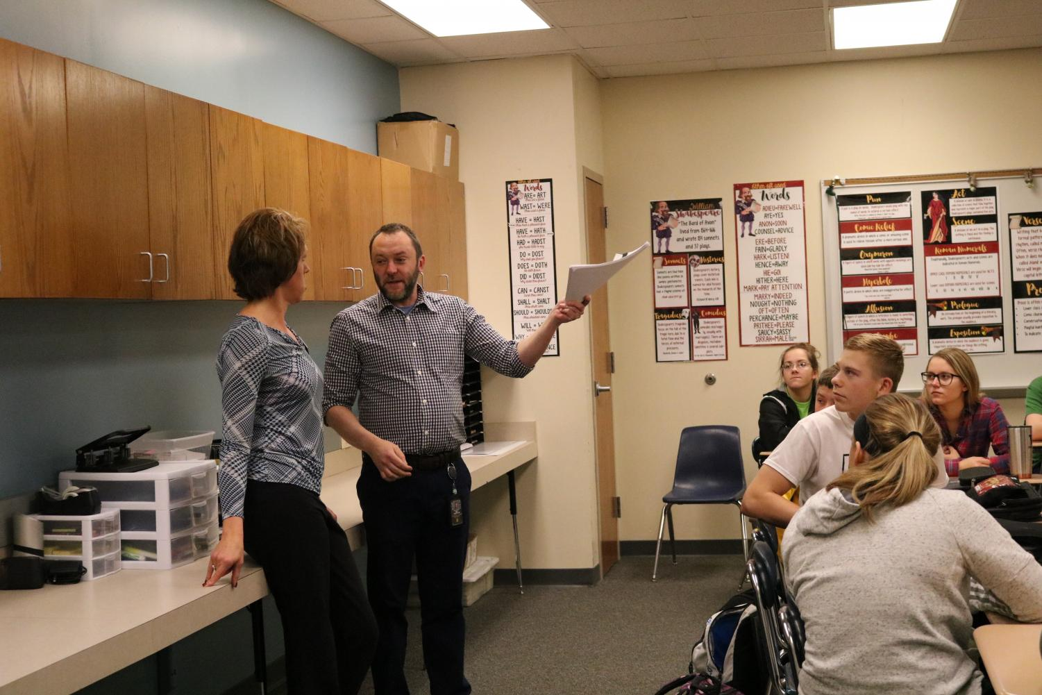 PLEASE EXPLAIN - English teacher Randall Simpson and Hy-Vee manager Stephanie Dagel instruct a sophomore English class about the logistics for jobs and interviews. The best interviewee from each class will be awarded a 50 dollar gift card.