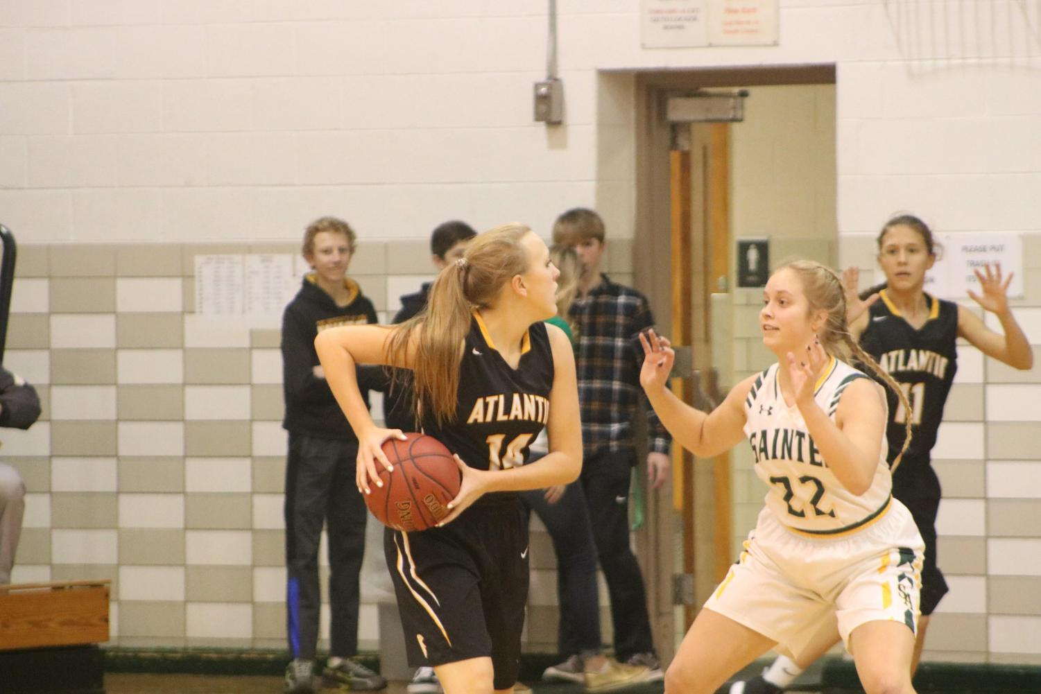 Sophomore Maycie Waters holds the basketball where the opposition can't reach it. Waters started JV against St. Albert on Thursday night.