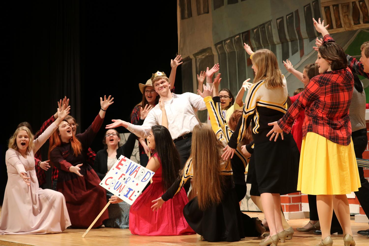 EDWARD FOR COUNCIL- Many cast members perform a scene during the 2018 spring musical. The musical was titled
