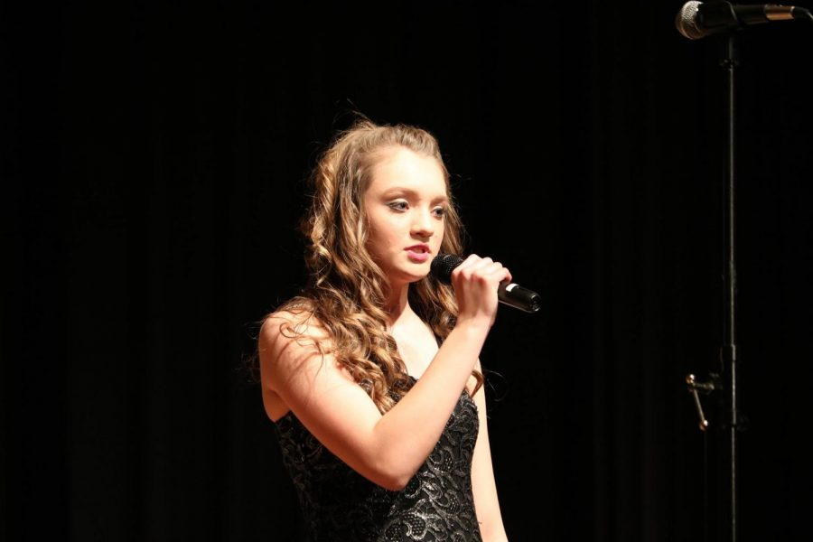 """MUSIC, SWEET MUSIC - Anna Havemier starts off the Diversity ballad with a breathtaking solo. Diversity preformed four songs in their show: """"Dancing in the Street,"""" """"I've Got the Music in Me,"""" """"Fire and Rain"""" and """"Don't Stop Me Now."""" Diversity will complete at multiple show choir competitions in the next few months."""