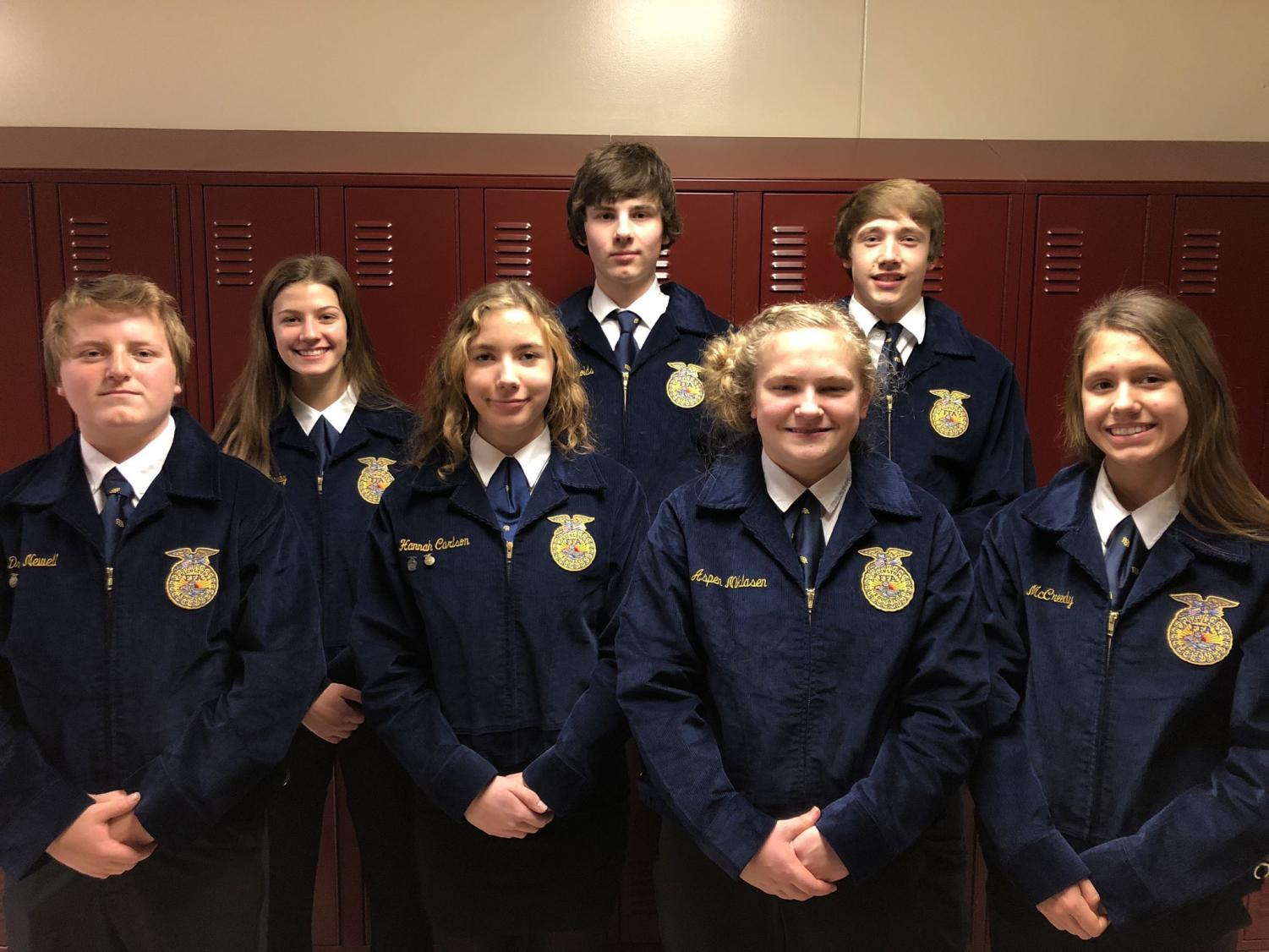 CONDUCTING BUSINESS - Drey Newell, Alyssa Derby, Hannah Carlson, Garrett Reynolds, Aspen Niklasen, Skyler Handlos and Taylor McCreedy made up the conduct team for the 2019 Southwest District CDE's. At the end of the day, the group placed fifth.