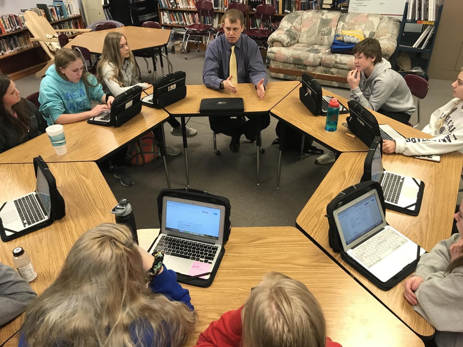 Curriculum director James Northwick explains Iowa Statewide Assessment of Student Progress (ISASP) tests to AHS journalists.