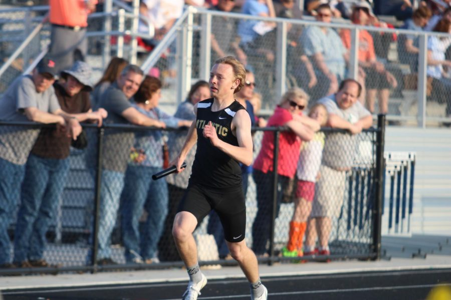 EYES ON THE PRIZE - Freshman Gannon O'Hara sprints his leg of a relay.