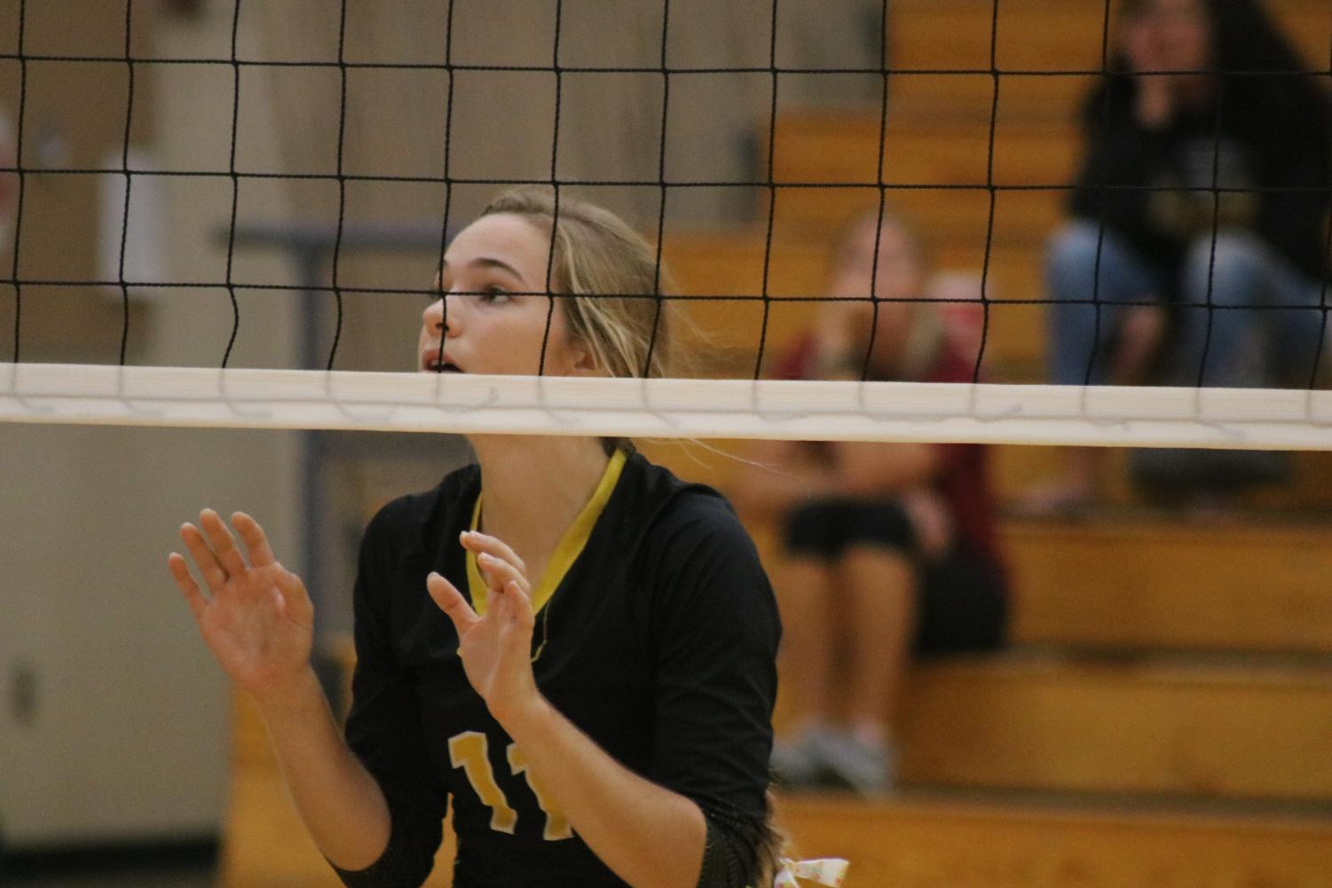 Junior Caroline Pellett gets ready to block at a home game this season. Pellett is second on her team for kills so far this season, with 64.