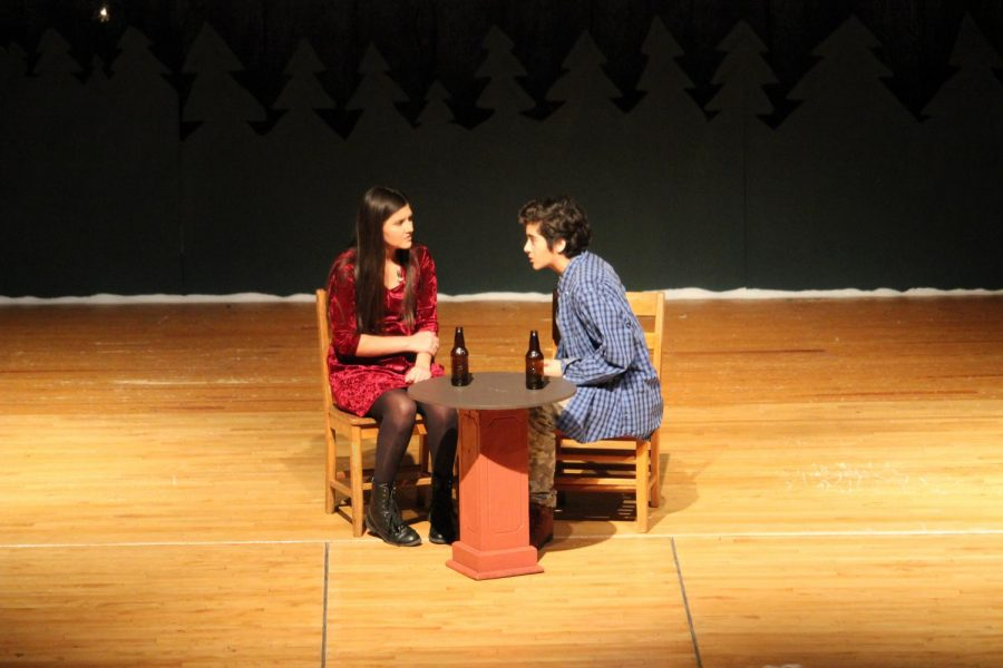Junior+Genevieve+Martinez+and+sophomore+Nolan+Perez+chat+during+a+scene+in+last+year%27s+play.+Both+students+auditioned+for+%22Radium+Girls.%22