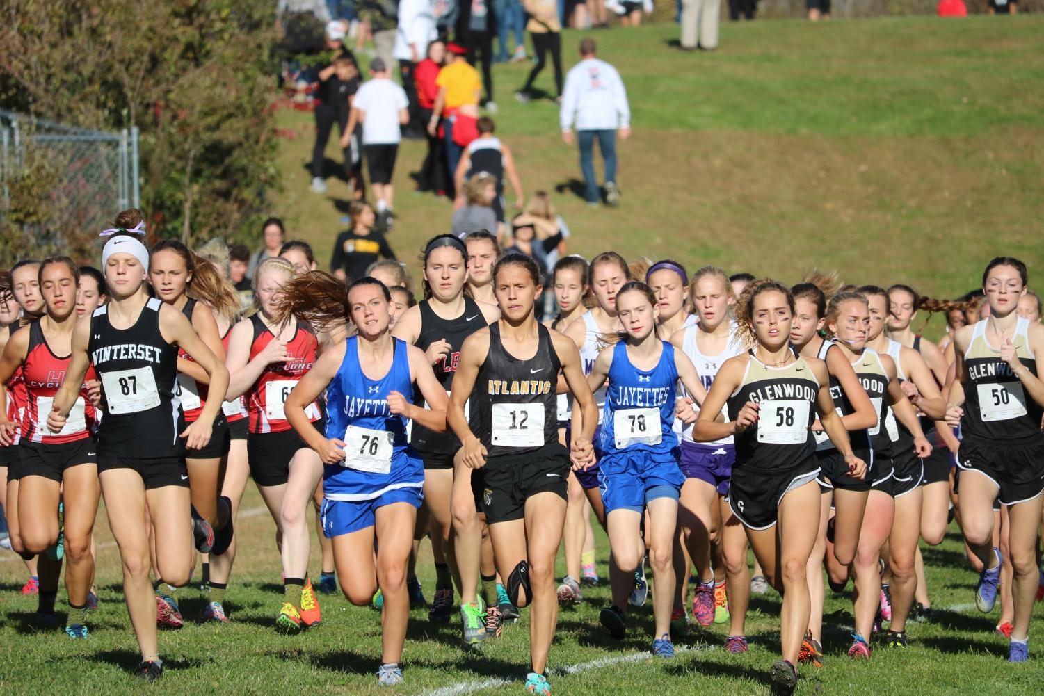 Junior Taylor McCreedy leads the pack at a meet last season. McCreedy took home first place at Tuesday's meet at Clarinda.