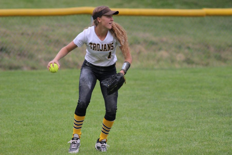 Junior Kenzie Waters fields the ball at home. Waters played centerfield, where she had 48 catches.