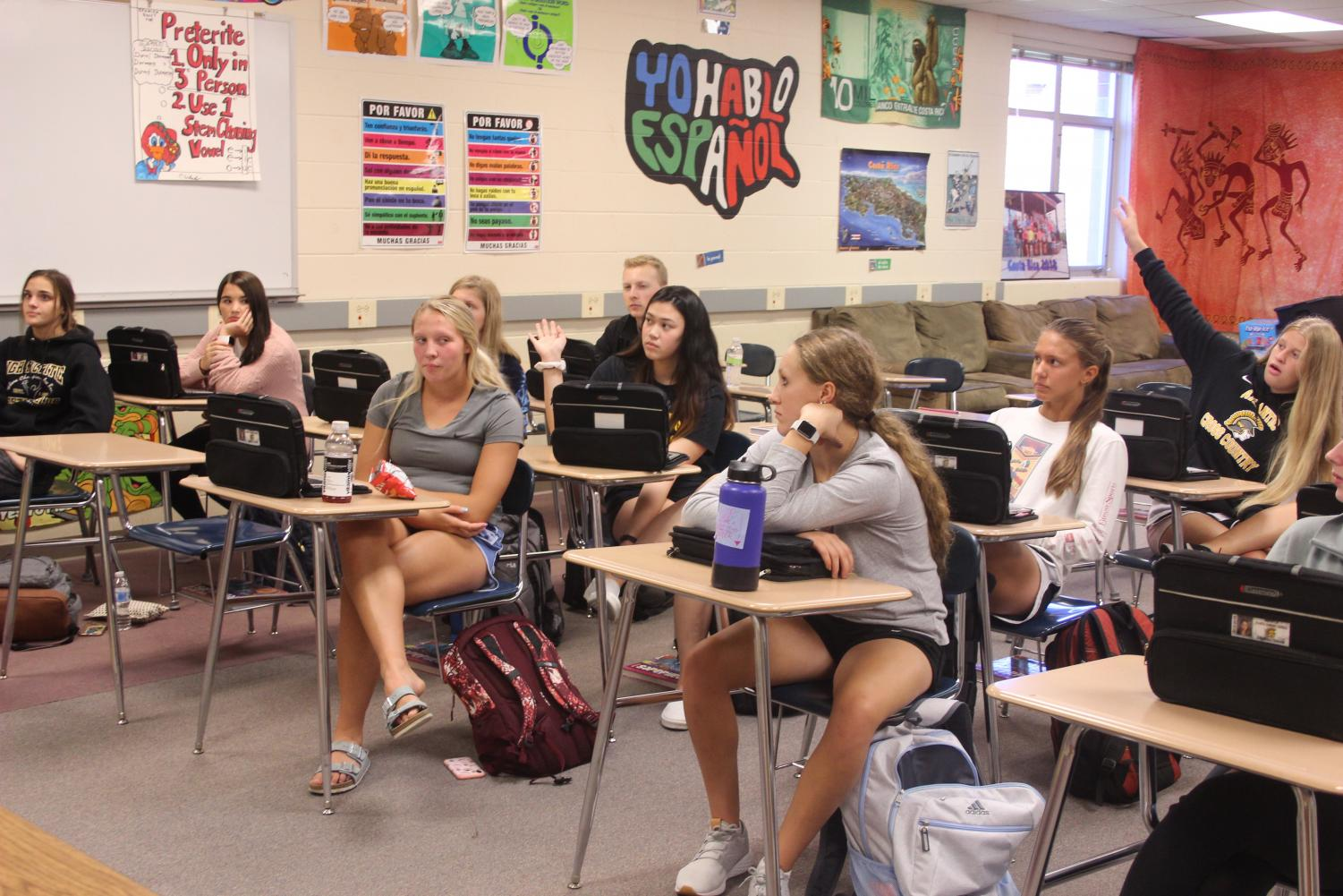 A mix of upperclassmen and underclassmen, the students in the new leadership class talk about their