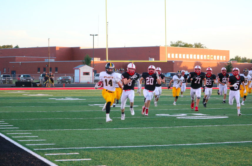 Tyler Moen runs for a big gain against the Panthers.