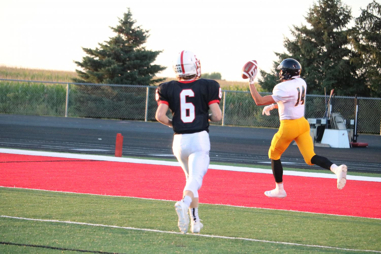 Senior Tyler Moen takes it to the house against Creston earlier in the season. Moen has played football all four years of high school