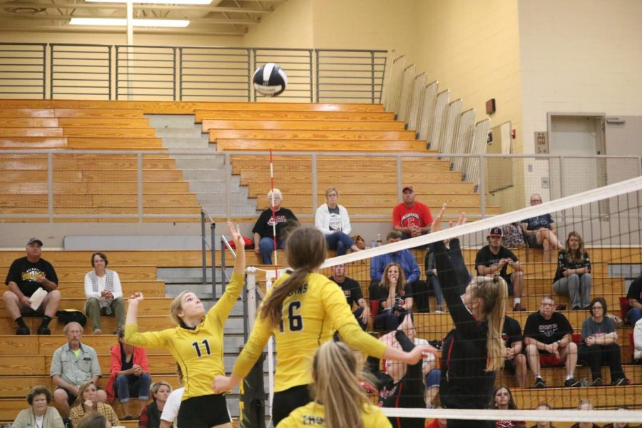The front row crew of juniors Caroline Pellett and Haley Rasmussen, along with freshman Aubrey Guyer go up against Creston this season. Pellett and Guyer are hitters, while Rasmussen is the setter.