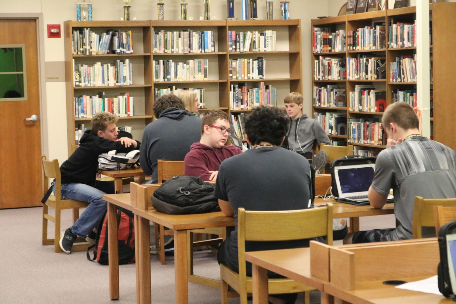 The media center is a popular destination for students throughout the day. It hosts study halls and AOs.
