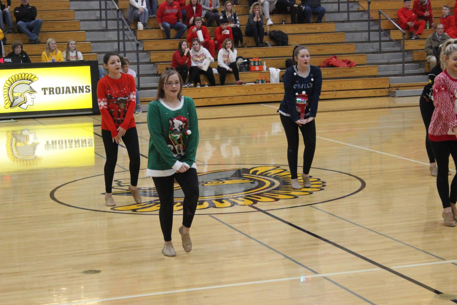 The dance team performs at halftime of the boys' basketball against Kuemper last year. This was the only performance for the dance team last year.