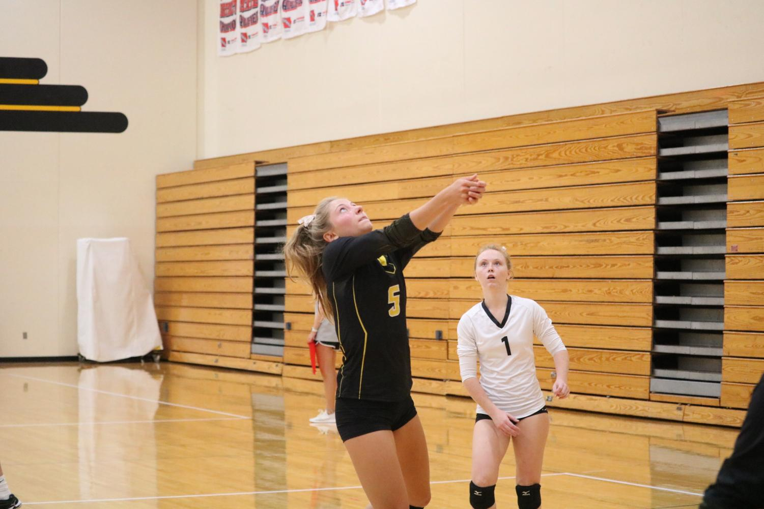 Junior Haley Rasmussen bumps up the ball. Rasmussen plays setter and hit 1,000 career assists this weekend.
