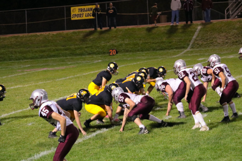 The Trojans get ready to snap the ball on Friday night. Atlantic had 600 yards worth of offense.