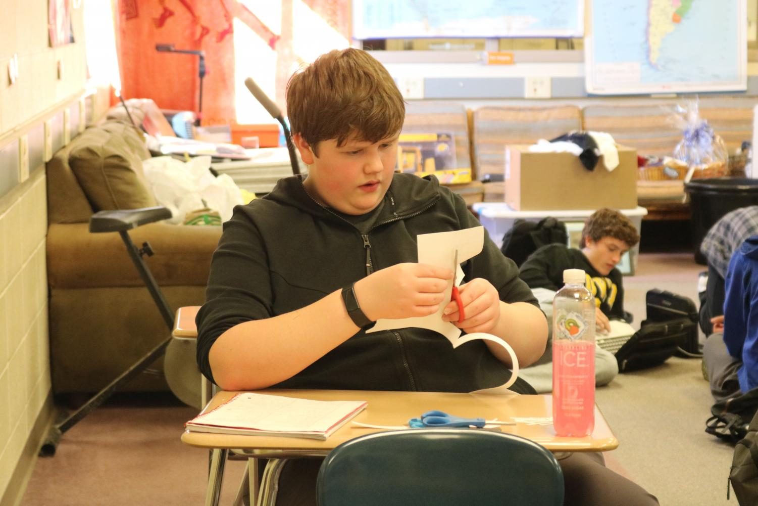 Junior Nate McLean works on his project in Spanish class this week. McLean has been in Spanish since freshman year.