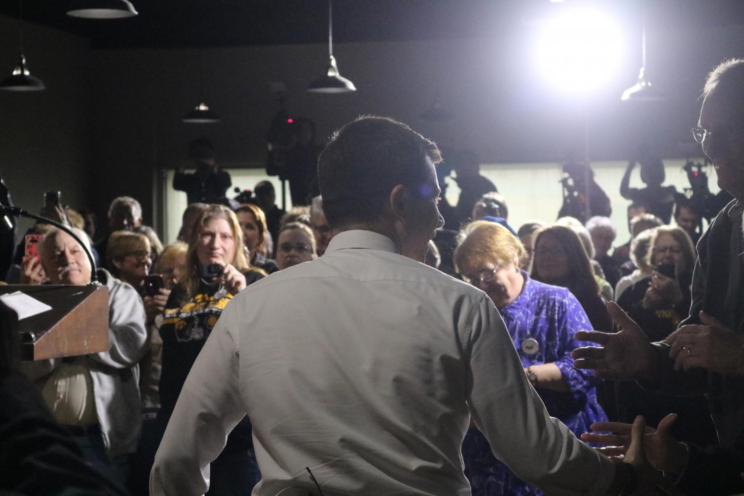 Mayor Pete Buttigieg approaches the podium. The event was hosted at The Venue in downtown Atlantic.