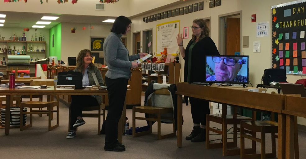 Laura McLean is sworn into her position of the Board of Education. McLean, Nick Hunt, and incumbent Jenny Williams, were the winners of the November election.
