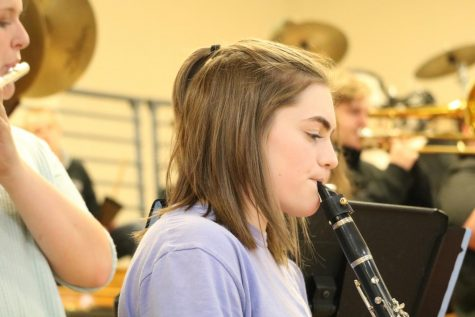 Junior Bri Wilson lets is rip on the clarinet. Wilson purchased a pep band jersey this season with her last name on the back.