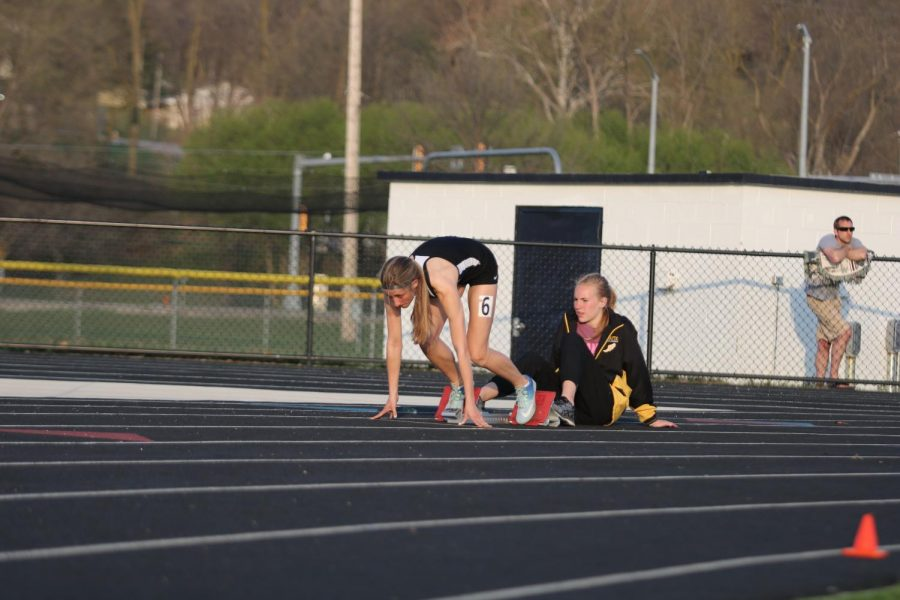 Junior Haley Rasmussen gets ready for her race last spring. Rasmussen has been involved with track since her freshman year.