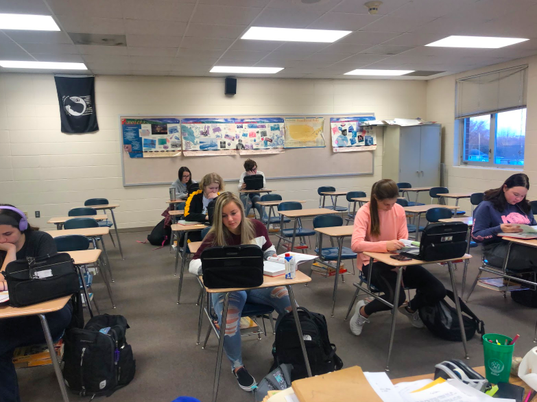 Students study up during Trace Petersen's Behavioral Science class. There are two periods of this course at the high school.