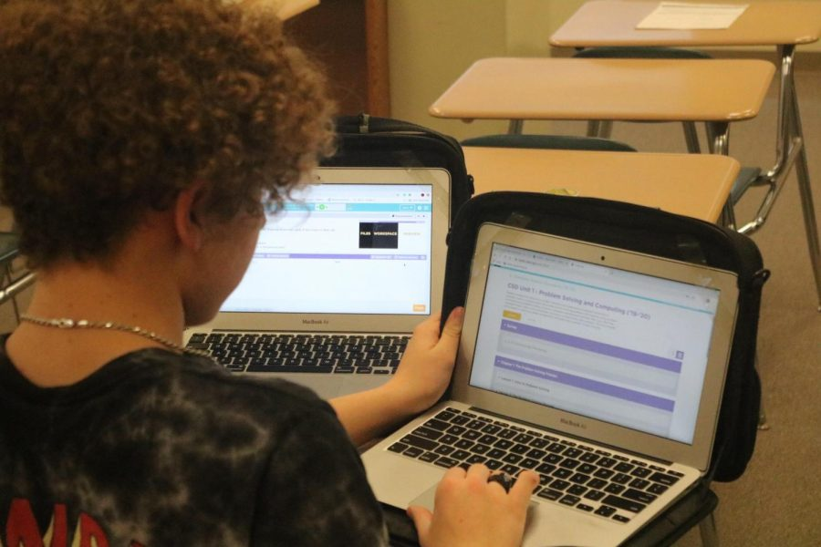 Junior Jarrit Smith looks over his work in Coding class. He is one of about a dozen students who take the class.